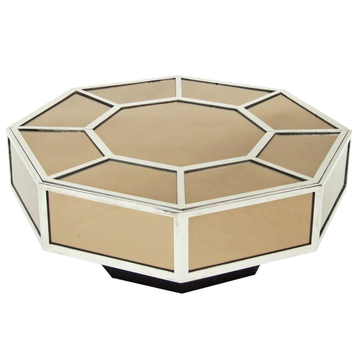 Mirrored Octagon Coffee Table: 1960s Mirrored Chrome Octagonal Deco Coffee Table At 1stdibs