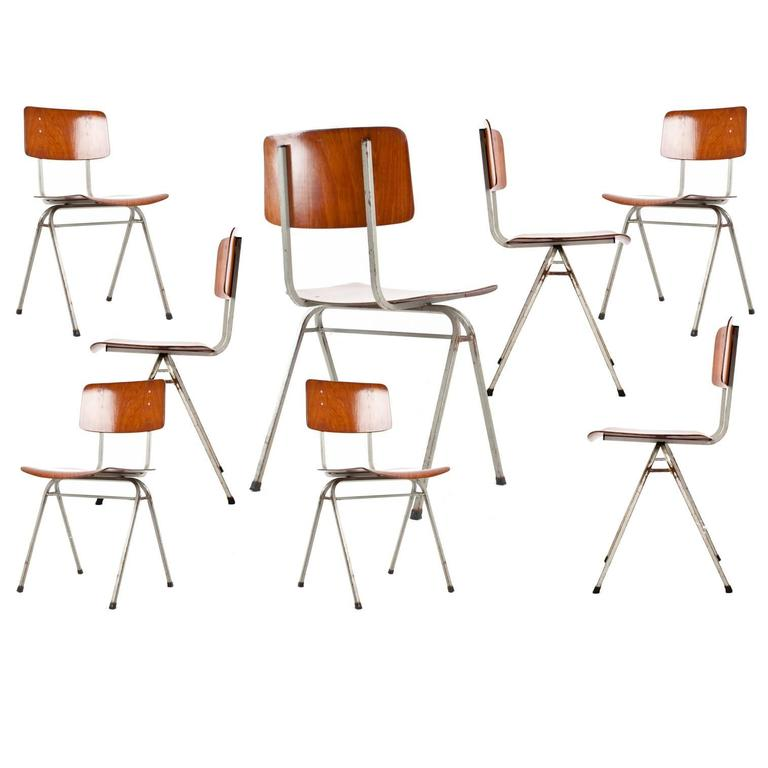 Pagholz School Chairs 1950s1960s Dutch Industrial Design Plywood