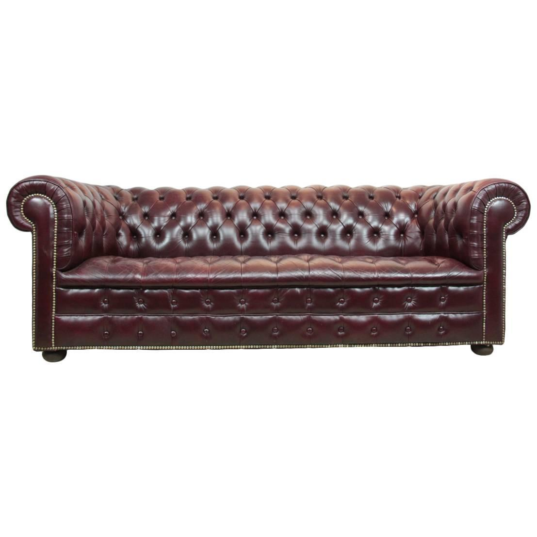 Vintage Black Leather Chesterfield Sofa: Vintage Leather Chesterfield Sofa In Red At 1stdibs