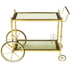 1960s Italian Brass Bar Cart Trolley