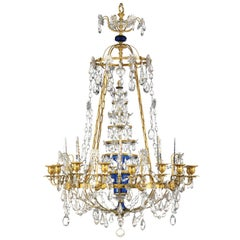 Antique Russian Imperial style gilt bronze, blue glass and amethyst chandelier