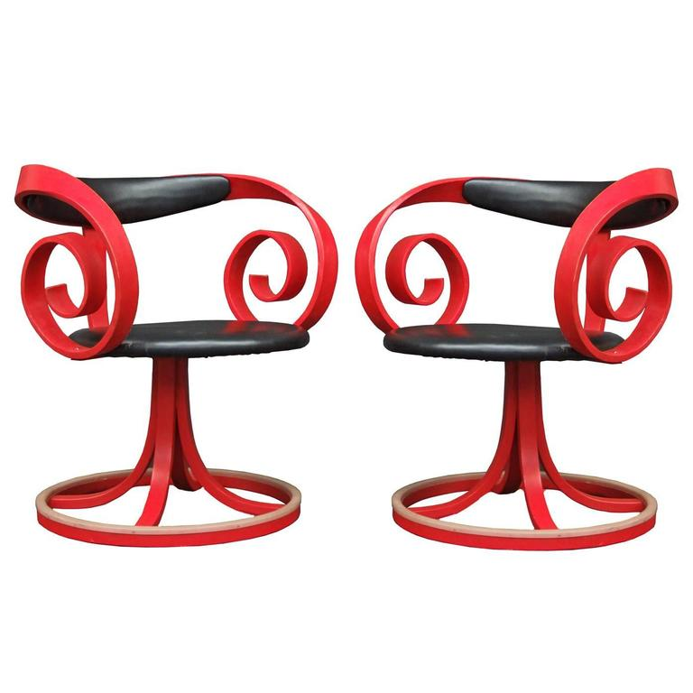 Pair Of 1960s Red Sultana Chairs By George Mulhauser For