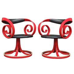 Pair of 1960s Red Sultana Chairs by George Mulhauser for Plycraft