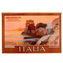 Original 1913 State Railway Poster Castello Di Paraggi, Riviera Ligure, Italy