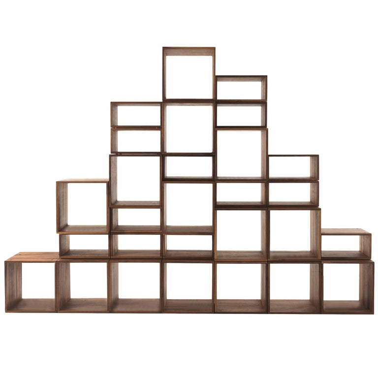 Bookcase Free in Solid Walnut Wood Made with 28 Free Boxes For Sale