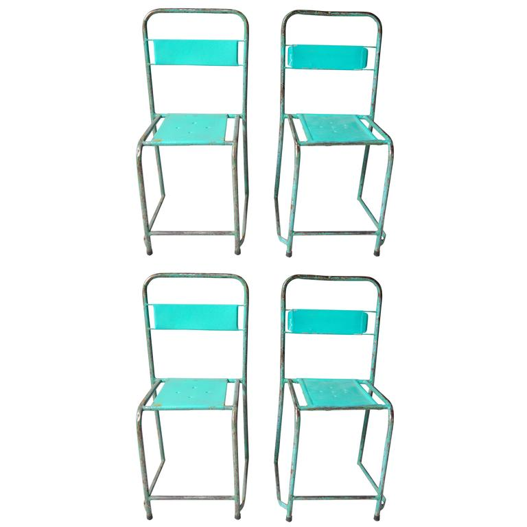 Set of Four Turquoise French School Chairs