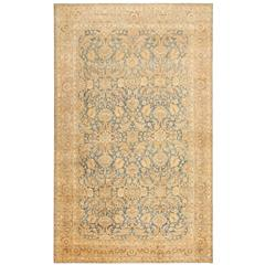 Fine Antique Light Blue Background Persian Kerman Rug