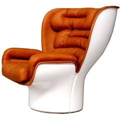Joe Colombo ELDA Chair Reupholstered in Cognac Aniline Leather