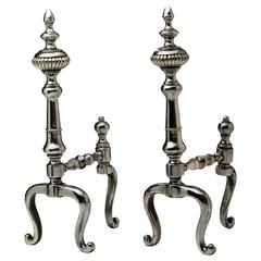 English Polished Steel Pair of Firedogs, 19th Century
