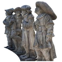 20th Century Set of Four Harlequinade Statues in Limestone