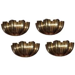 Set of Four Gilt Bronze Shell Shape Sconces