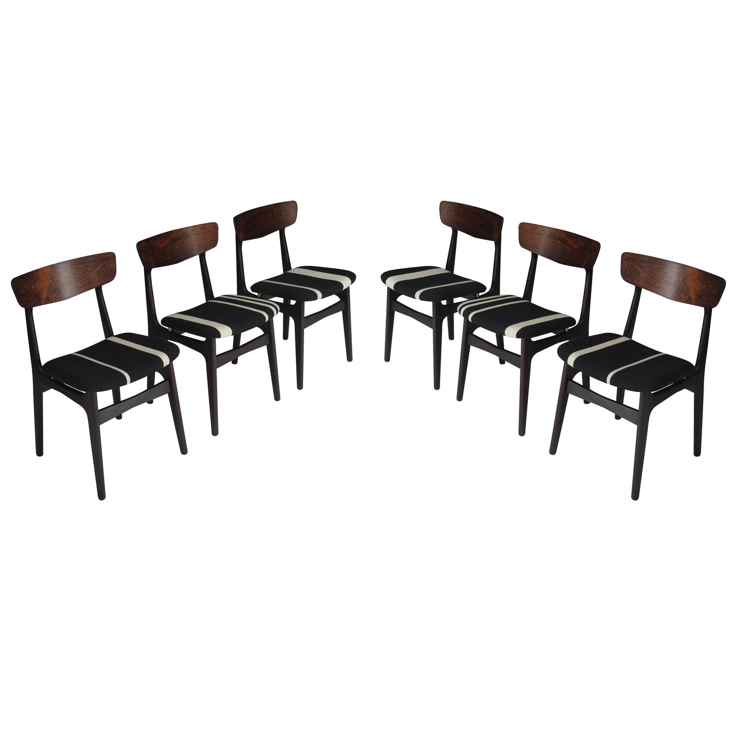 Danish Rosewood Dining Chairs with Black White Striped