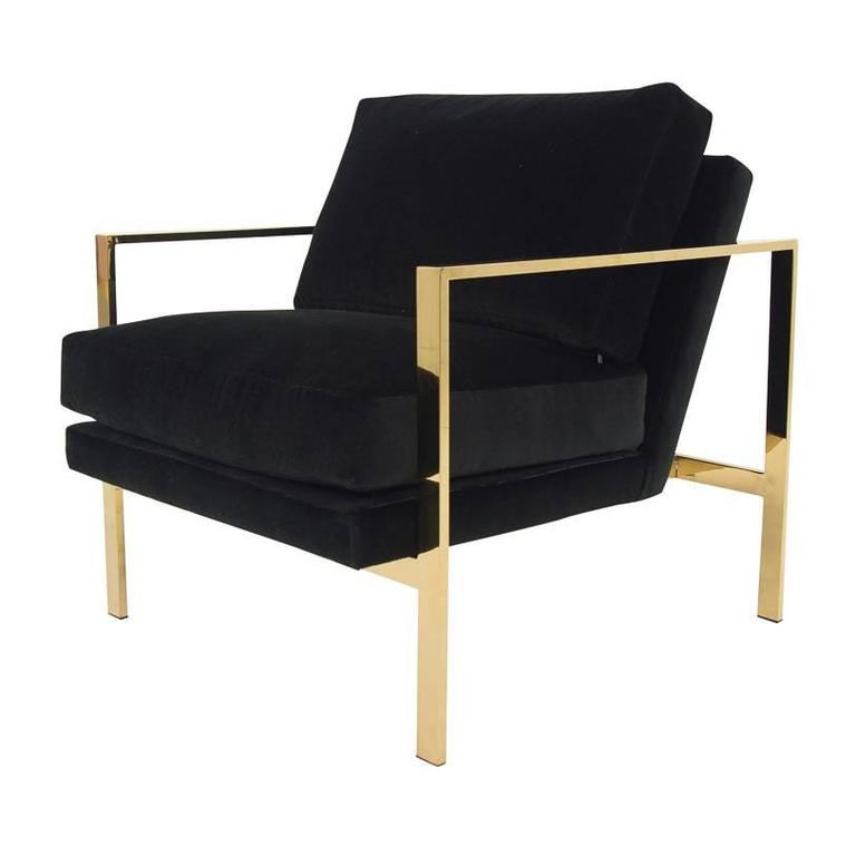 Mid Century Modern Style Armchair In Black Velvet W/ Brass Finished Frame  For Sale