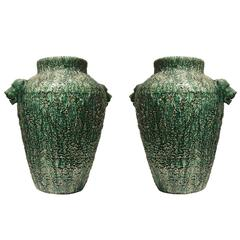 Pair of American Art Deco Oversized Green Ceramic Urns