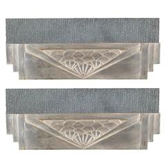 Pair of French Art Deco Sconces, in Polished Nickel