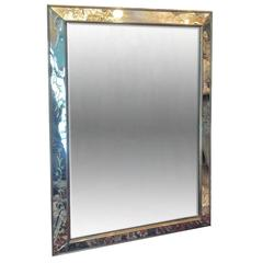 French Etched Mirror with Gilt Details