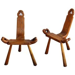 Delightful and Rustic Pair of Swiss Tyrolean Waxed Oak Mountain Stools