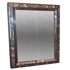 Reverse Painted Mirror with Foliage Motif