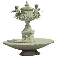 Italian Bronze Verdigris Fountain with Flute Playing Puttis and Lions with Prove