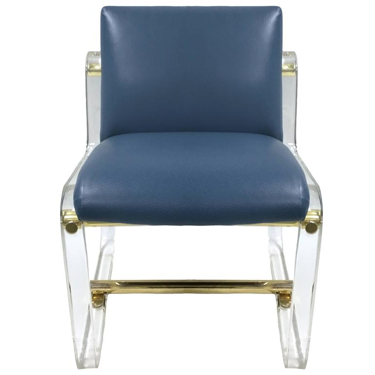 1970s Lucite and Brass Desk Chair Attributed to Pace at