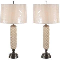 Rare Pair of Cream and Pewter Bubble Lamps by Helena Tynell for Flygsfors