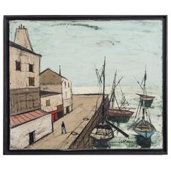 Framed Oil Painting of a Harbour Scene by Charles Levier