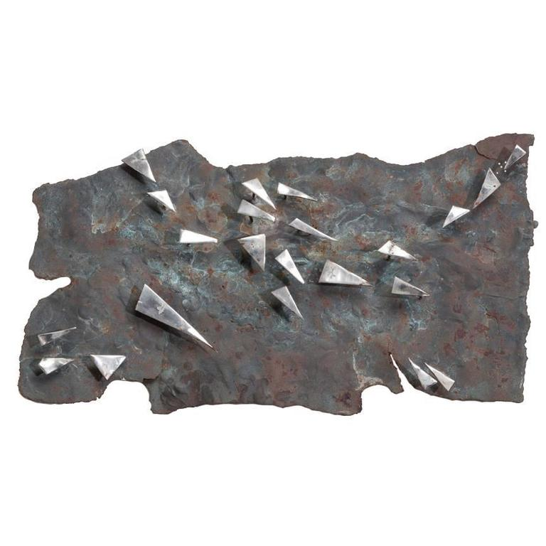 Brutalist Metal Panel Wall Sculpture by Silas Seandel Signed For Sale
