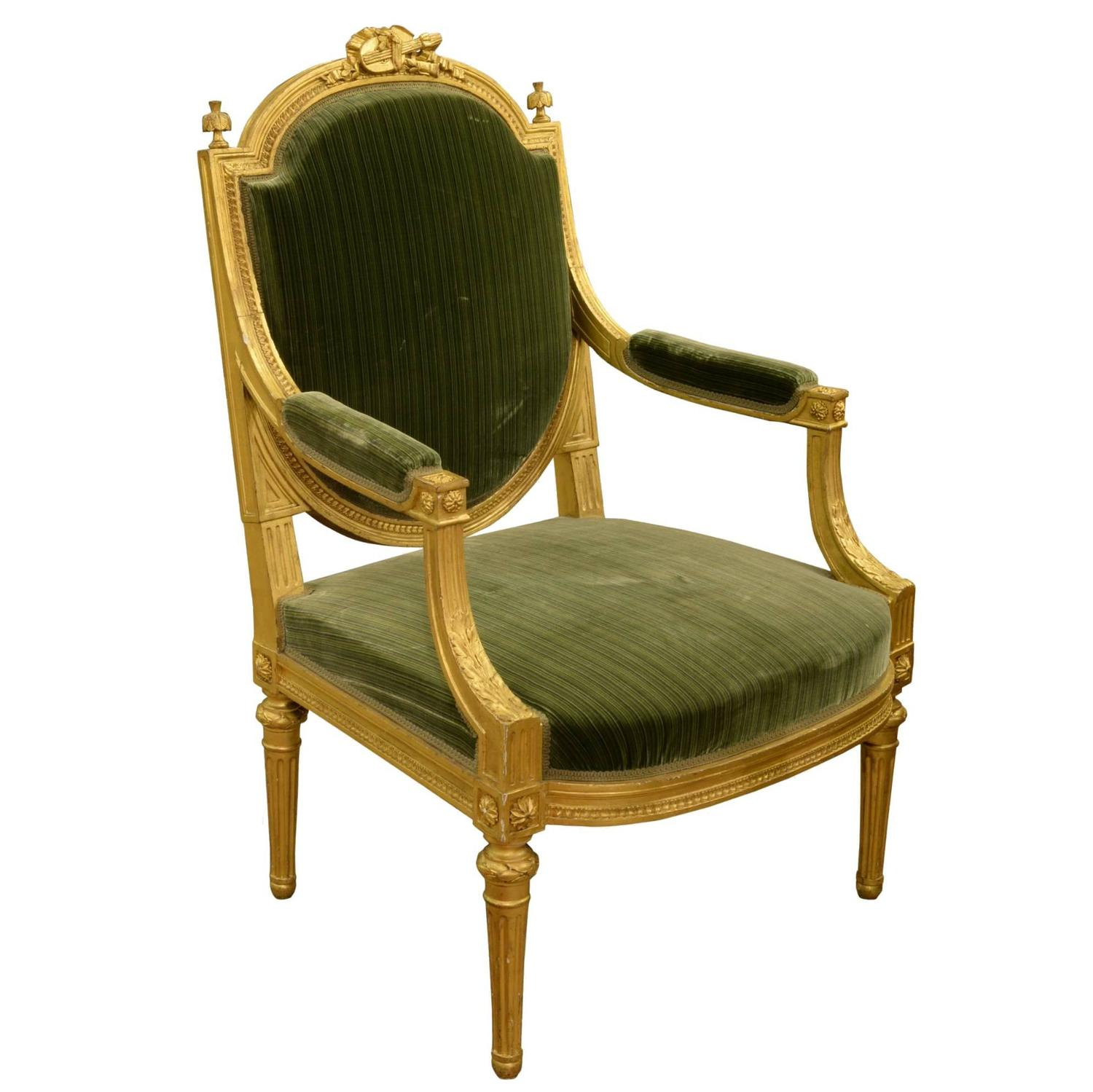 19th century louis xvi style fauteuil at 1stdibs. Black Bedroom Furniture Sets. Home Design Ideas