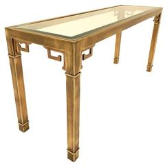 1970s Mastercraft Furniture Brass Greek Key Console Table
