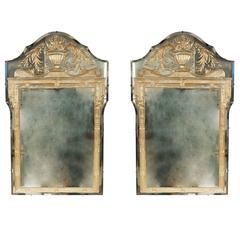 Pair of Striking Reverse Etched and Decorated Mirrors