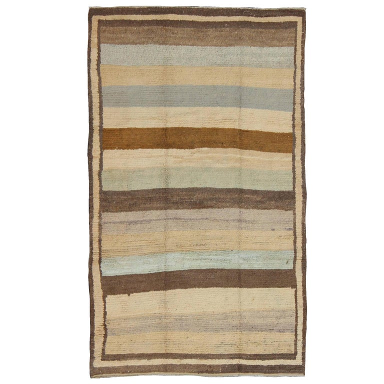 Antique Tulu Rug with Modern-esque Multiple Bands of Colors   For Sale