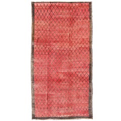 Turkish Konya Rug with a Modern Design in Red and Brown