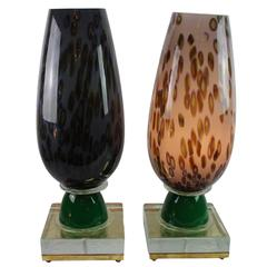 Pair of Lovely Multicolored Murano Glass Lamps