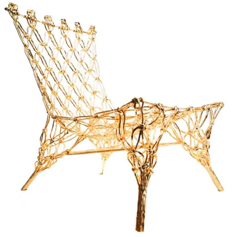 golden knotted chair by marcel wanders for sale at 1stdibs. Black Bedroom Furniture Sets. Home Design Ideas