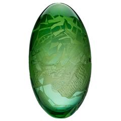 Contemporary 'Moor Burn' Handblown Cameo Glass Sculpture