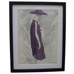 Framed 1958 Balenciaga Fashion Illustration by Pierre Mourgue