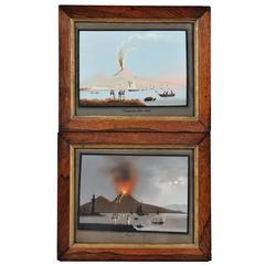 Pair of Volcanic Eruptions of Vesuvius, Italian, 19th Century