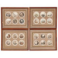 Four Frames of 24 Hand-Colored Engravings Depicting Famous Battles, 19th Century