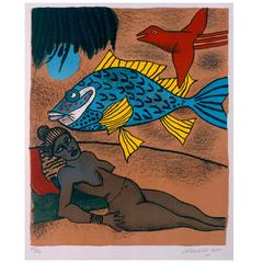 Mémoire de Cuba 'Blue Fish' by Corneille for Jaski Gallery