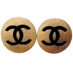 """1980s Chanel """"CC"""" Round Gold and Black Earrings"""