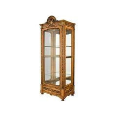 19th Century French Louis XVI Walnut Vitrine with Marquetry Floral Inlaid