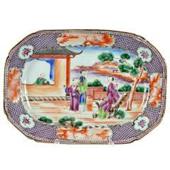 Rockefeller Porcelain Serving Dish with Mandarin Pattern Gilt, 18th Century
