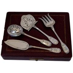 Christofle Rare French All Sterling Silver Dessert Hors D'oeuvre Set Four-Pc Box