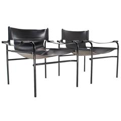 1970s Set Dutch Industrial Leather Lounge Chairs, Walter Antonis for t Spectrum