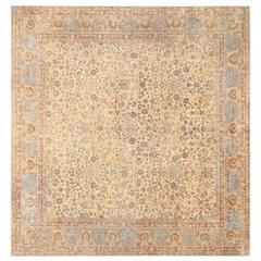 Decorative and Rare Square Size Persian Antique Tabriz Rug