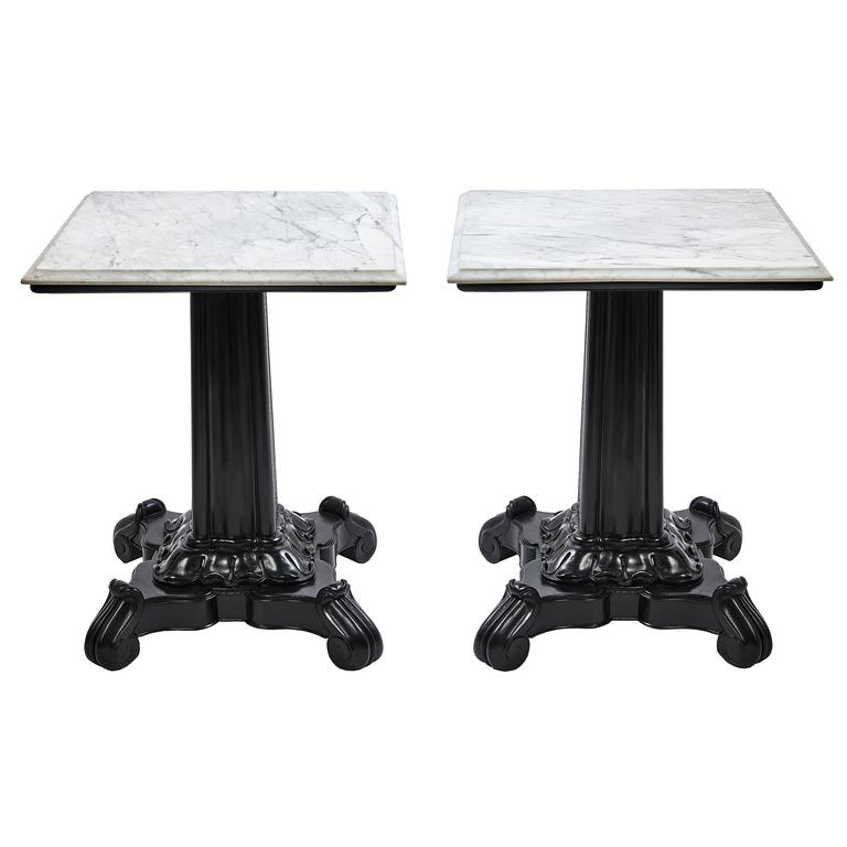 Rosewood and white marble anglo indian pedestal side tables at 1stdibs