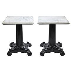 Pair of Ebonized Rosewood and White Marble Anglo-Indian Pedestal Side Tables