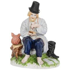 Gardner Factory Bisque Porcelain Figure of a Peasant