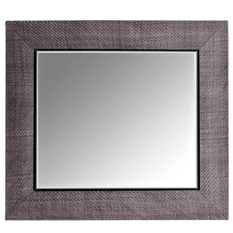 Hand-Woven London Storm Grey Leather Framed Beveled Mirror For Sale