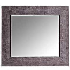 Hand-Woven London Storm Grey Leather Framed Beveled Mirror